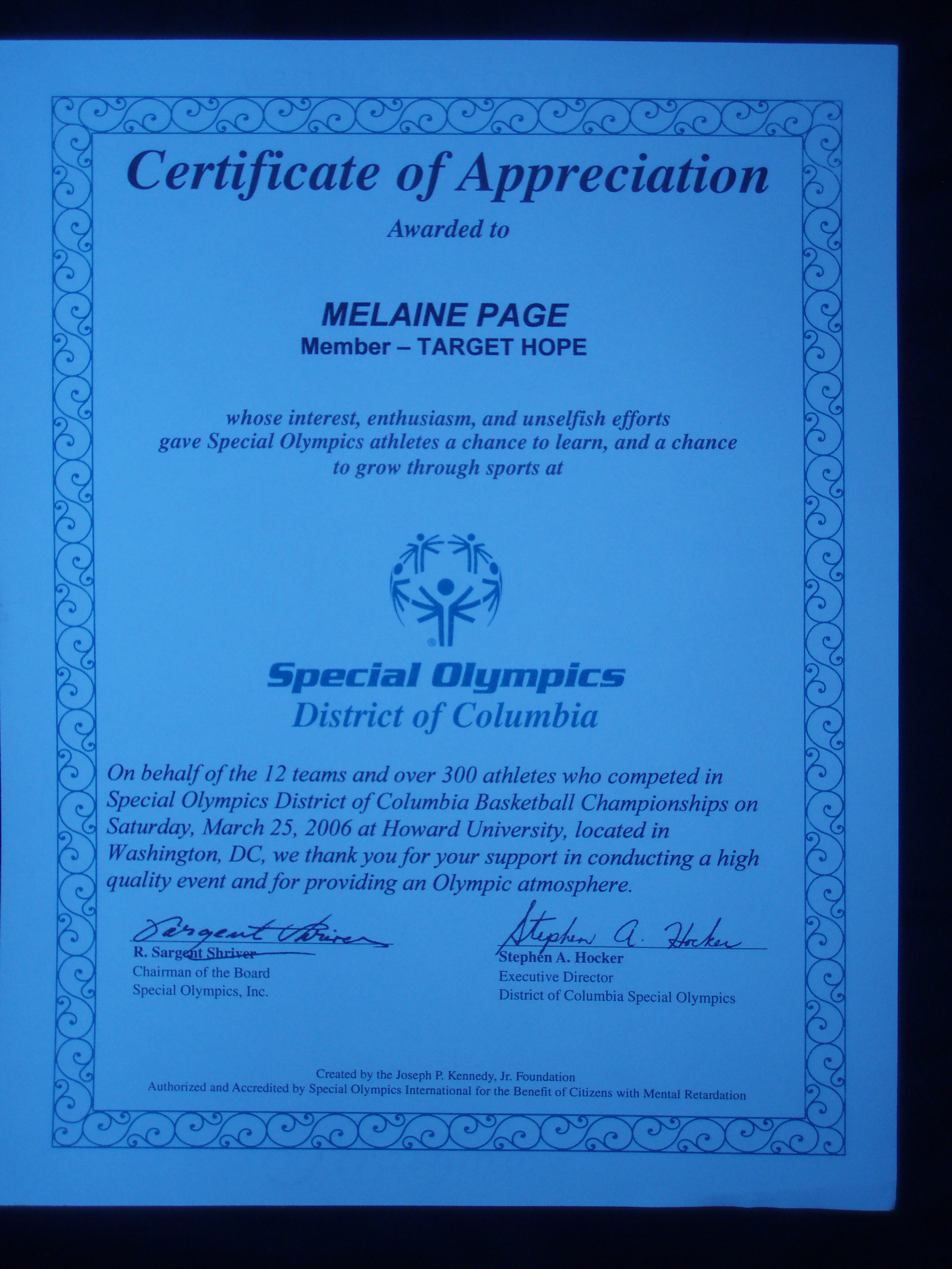 Melanietheteacher district of columbia special olympics district of columbia special olympics certificate of appreciation yelopaper Choice Image